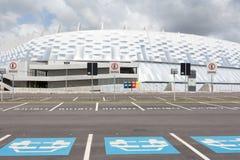 Parkera framme av stadion i Recife arkivbild