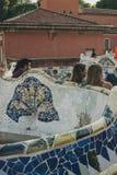 Parkera Guell bänkar, modernism royaltyfria foton