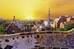 Parkera Guell. Barcelona gränsmärke, Spanien. royaltyfri fotografi
