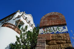 Parkera Guell, Barcelona, Spanien. royaltyfri foto