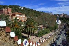 Parkera Guell, den Barcelona staden Arkivbild