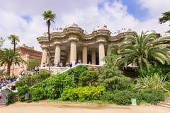 Parkera Guell i Barcelona Arkivbild
