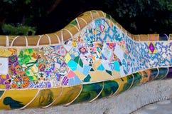 Parkera Guell i Barcelona, Catalonia, Spanien Royaltyfri Bild