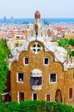 Parkera Guell i Barcelona, Catalonia, Spanien Arkivbild