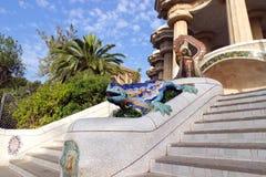 Parkera Guell i Barcelona, Spanien. Fotografering för Bildbyråer
