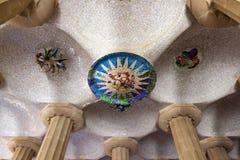 Parkera Guell i Barcelona, Spanien. Royaltyfri Fotografi
