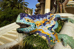 Parkera Guell i Barcelona, Spanien. Royaltyfri Foto