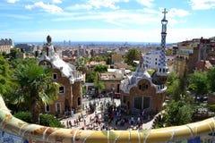 Parkera Guell i Barcelona, Spanien Arkivfoton