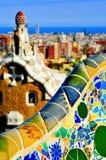 Parkera Guell i Barcelona, Spanien Royaltyfri Bild