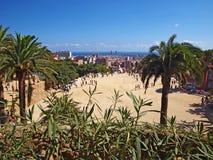 Parkera Guell i Barcelona, Spanien Royaltyfria Bilder