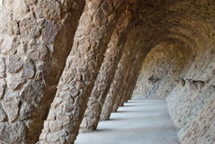 Parkera Guell i Barcelone, Spanien Royaltyfri Bild