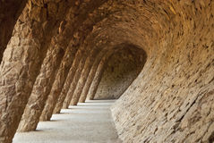 Parkera Guell i Barcelone, Spanien Royaltyfri Fotografi
