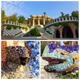 Parkera Guell i den Barcelona uppsättningen Royaltyfri Bild