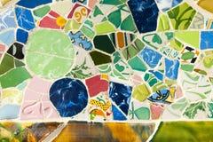 Parkera Guell tegelplattor - Barcelona - Spanien arkivfoton