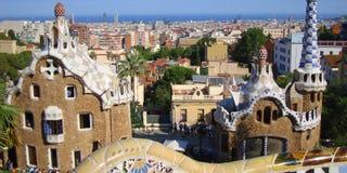 Parkera Guello, Barcelona, små hus från saga Fotografering för Bildbyråer