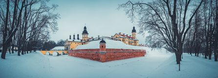 Parkera i den Nesvizh staden på vintern, Vitryssland Royaltyfria Bilder