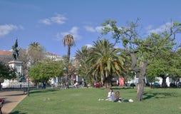 Parkera i mitten av Lissabon - Portugal Arkivfoto