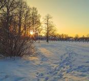 Parkera i vinter på solnedgången Arkivbild