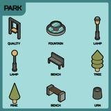 Parkera isometriska symboler för färgöversikten Arkivbilder