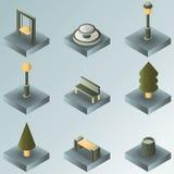 Parkera isometriska symboler för färglutningen Royaltyfria Foton