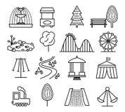 Parkera landskap- och munterhetlinjen symbolsvektoruppsättning Royaltyfri Bild