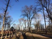 Parkera med bänkar, gazeboen, blå himmel och högväxta träd Royaltyfri Fotografi