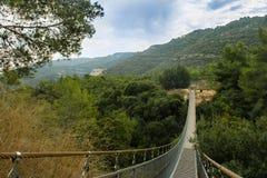 Parkera med den försåg med gångjärn bron. Israel Royaltyfri Foto