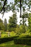 Parkera med fäste ihop buskar Arkivbild