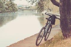 Parkera med floden, och cykelspåret/cykelspåret parkerar in nära floden arkivbild
