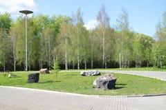 Parkera med grönt gräs, stora dekorativa stenblock Arkivbilder