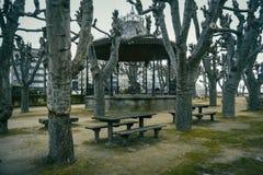 Parkera med picknicken i Baiona, Galicia Spanien arkivbilder