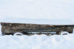 Parkera och bänken för trädstammen som är tom under vintersäsong arkivfoton