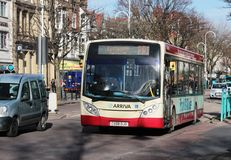 Parkera och rida bussen, Lord Street, Southport Fotografering för Bildbyråer
