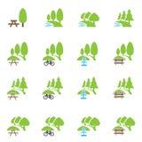 Parkera och utomhus- symboler Arkivfoton