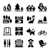 Parkera offentligt parkerar, nationalparken, trädgårds- symbolsuppsättning stock illustrationer