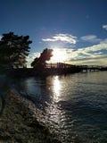 Parkera på solnedgången Arkivfoton