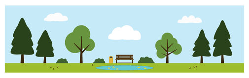 Parkera platsen med bänken, dammet med änder, träd, buskar, fåglar och moln Arkivfoto