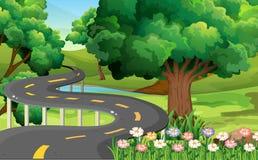 Parkera platsen med den tomma vägen royaltyfri illustrationer