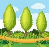 Parkera platsen med sörjer träd längs vägen royaltyfri illustrationer