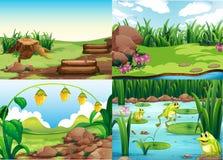 Parkera platser med gräs och grodor royaltyfri illustrationer