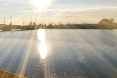 Parkera sjön med härliga reflexioner på vårtid royaltyfri fotografi
