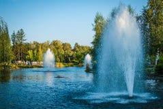 Parkera springbrunnen Arkivfoto