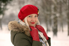 parkera vinterkvinnan Fotografering för Bildbyråer