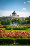 Parkera Volksgarten framme av Hofburg, Wien Arkivbilder