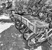 Parkerade cyklar i La Digue på den Anse källan D'Argent sätter på land Fotografering för Bildbyråer