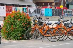 Parkerade cyklar på den pittoreska gatan av Amsterdam Arkivfoto