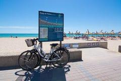 Parkerade cyklar Playa de Palma Arkivbilder