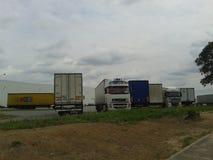 parkerade lastbilar Royaltyfria Bilder