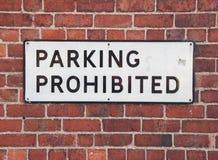 parkerande förbjudet tecken Arkivbilder