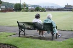 Parkerar den höga kvinnan för gamla par avslappnande det fria Rothesay för bänksommarförälskelse royaltyfri bild